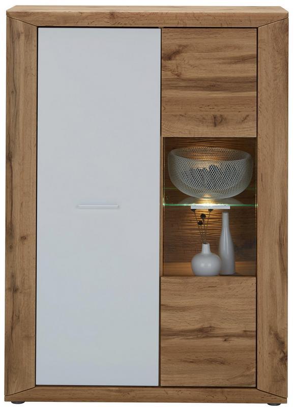 Highboard Weiß/Eichefarben - Eichefarben/Silberfarben, KONVENTIONELL, Glas/Holzwerkstoff (91/127/35cm) - Modern Living