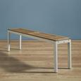 Bank Nicolo - Braun/Weiß, MODERN, Holz (140/30/45cm) - Modern Living