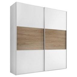 Schwebetürenschrank Includo B:188cm Weiß/ Eiche Dekor - Eichefarben/Alufarben, MODERN, Glas/Holzwerkstoff (188/222/68cm) - Bessagi Home