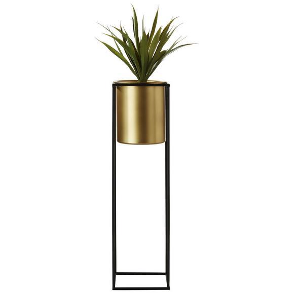 Übertopf Larissa in Schwarz/Goldfarben - Goldfarben/Schwarz, Trend, Metall (17/17/56,5cm) - Mömax modern living