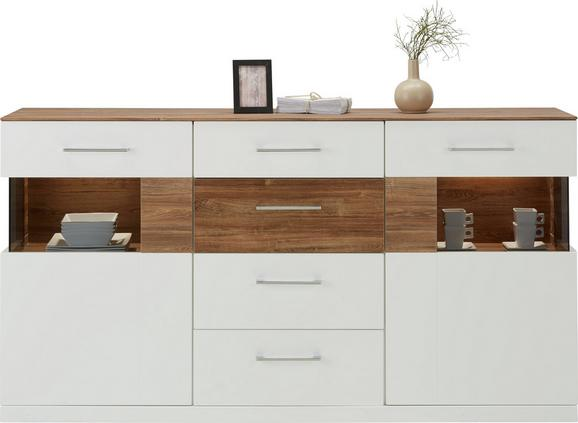 Sideboard Weiß Hochglanz/Akazie - Weiß, MODERN, Holz (180/95/44cm) - PREMIUM LIVING