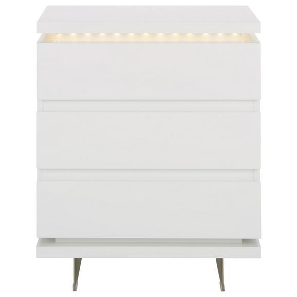 Nachtkästchen in Weiß Inkl Led-beleuchtung - Silberfarben/Weiß, MODERN, Holzwerkstoff/Metall (50/60/40cm) - Premium Living