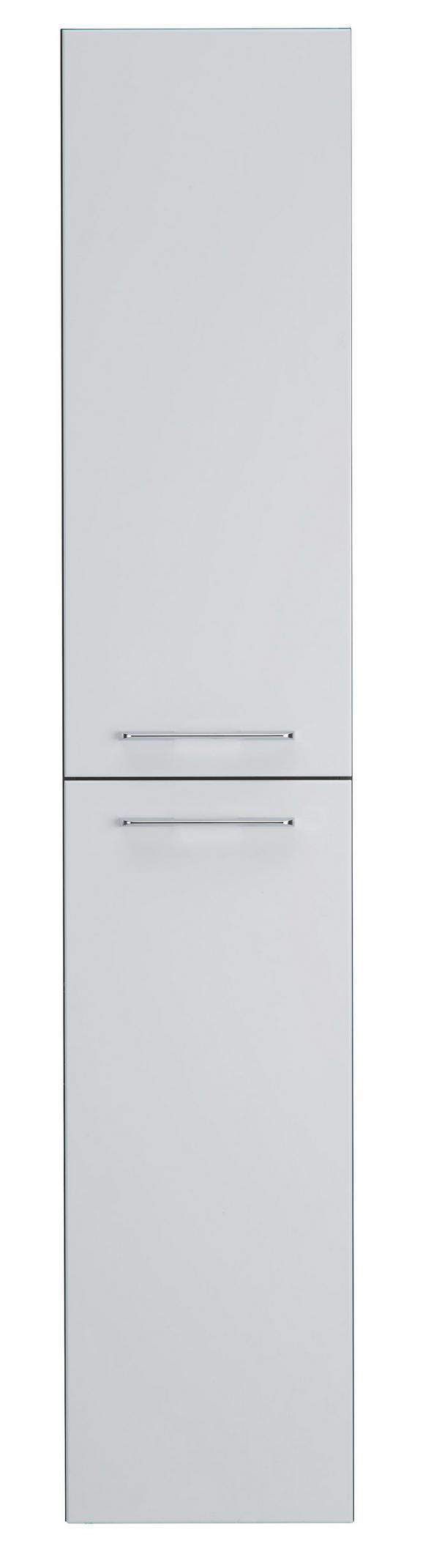 Hochschrank Weiß Hochglanz - Dunkelgrau/Weiß, MODERN, Holzwerkstoff/Metall (35/180/30cm)