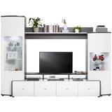 Wohnwand in Weiß Hochglanz - Anthrazit/Silberfarben, MODERN, Glas/Holzwerkstoff (280.0l) - Premium Living