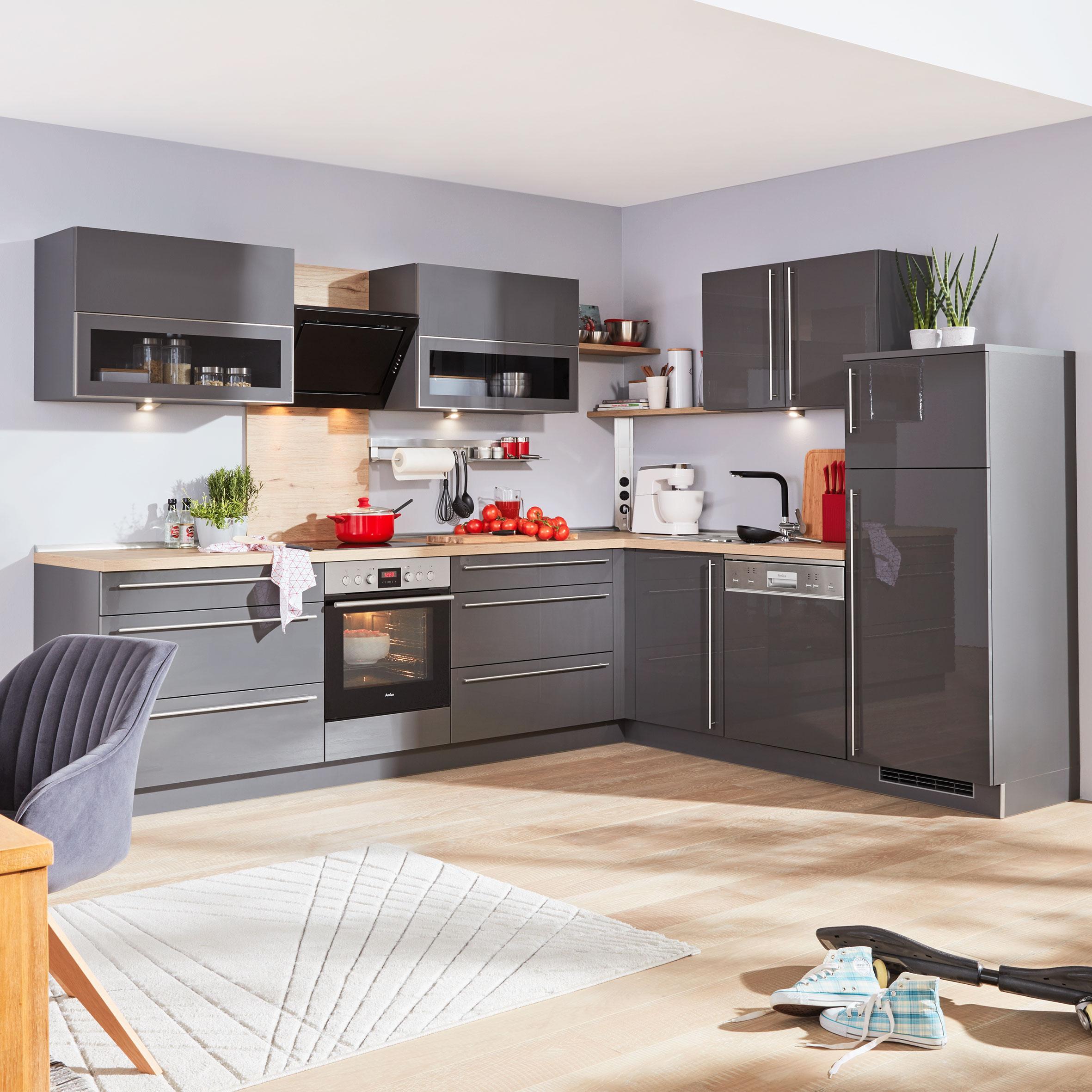 Eckküche Nolte Lux Grau   Grau (235/305cm)   Nolte Küchen