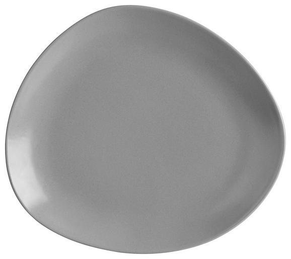 Speiseteller Nele aus Steinzeug in Grau - Grau, MODERN, Keramik (26,3/23/2,5cm) - Premium Living