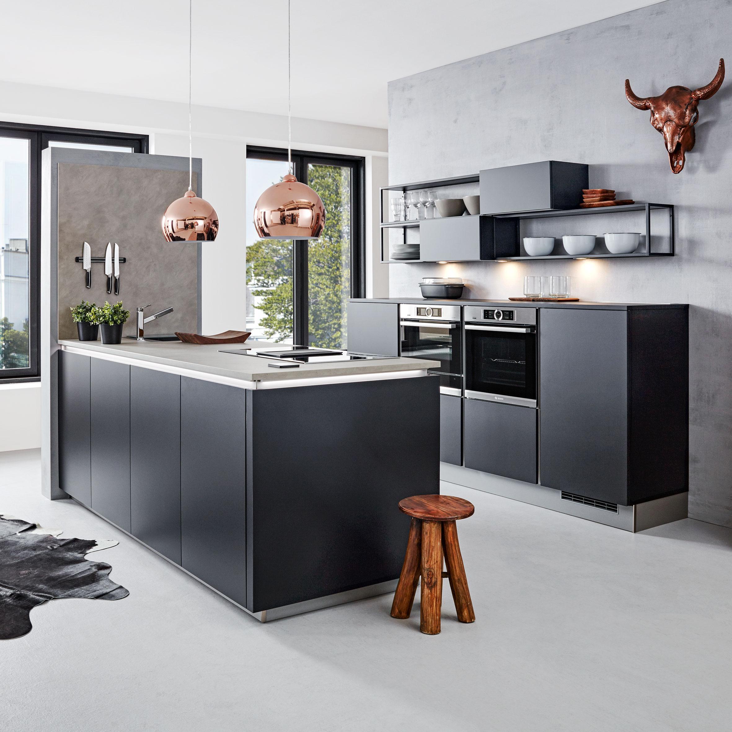 Einbauküche Nolte Feel Schwarz   Schwarz, Holzwerkstoff (249/245,2cm)