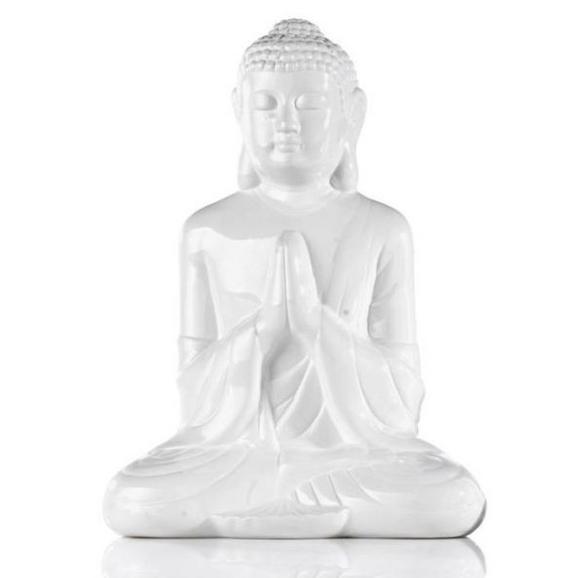 Buddha Buddha Weiß - Weiß/Grün, LIFESTYLE, Keramik (20cm) - Mömax modern living