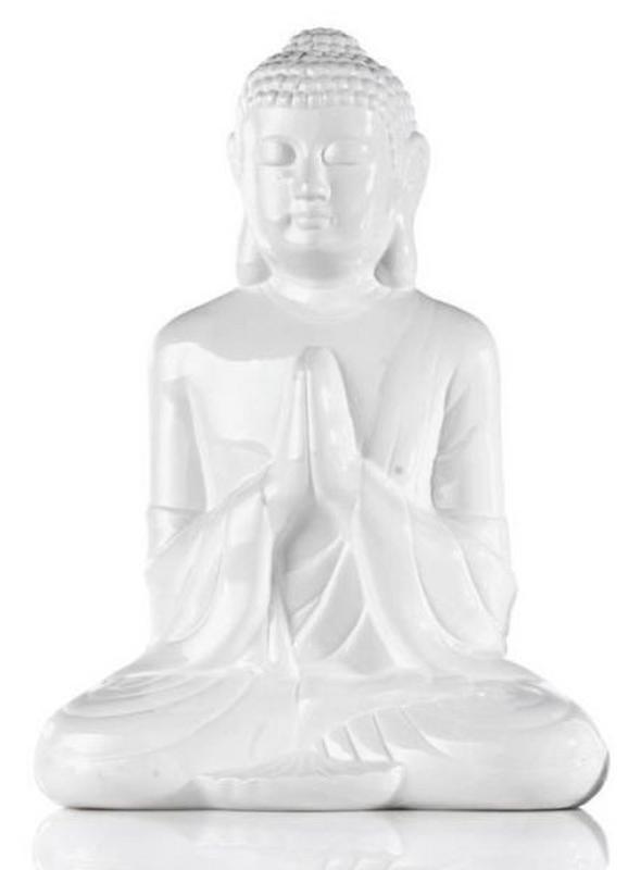 Buddha in Weiß aus Keramik - Weiß/Grau, LIFESTYLE, Keramik (36cm) - MÖMAX modern living