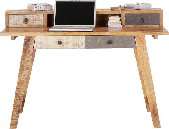 Schreibtisch in Braun/Weiß aus Mangoholz - Schwarz/Braun, Holz/Metall (135/90/55cm) - PREMIUM LIVING