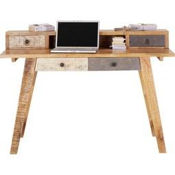 Schreibtisch in Braun/Weiß Mangoholz - Schwarz/Braun, Holz/Metall (135/90/55cm) - Premium Living