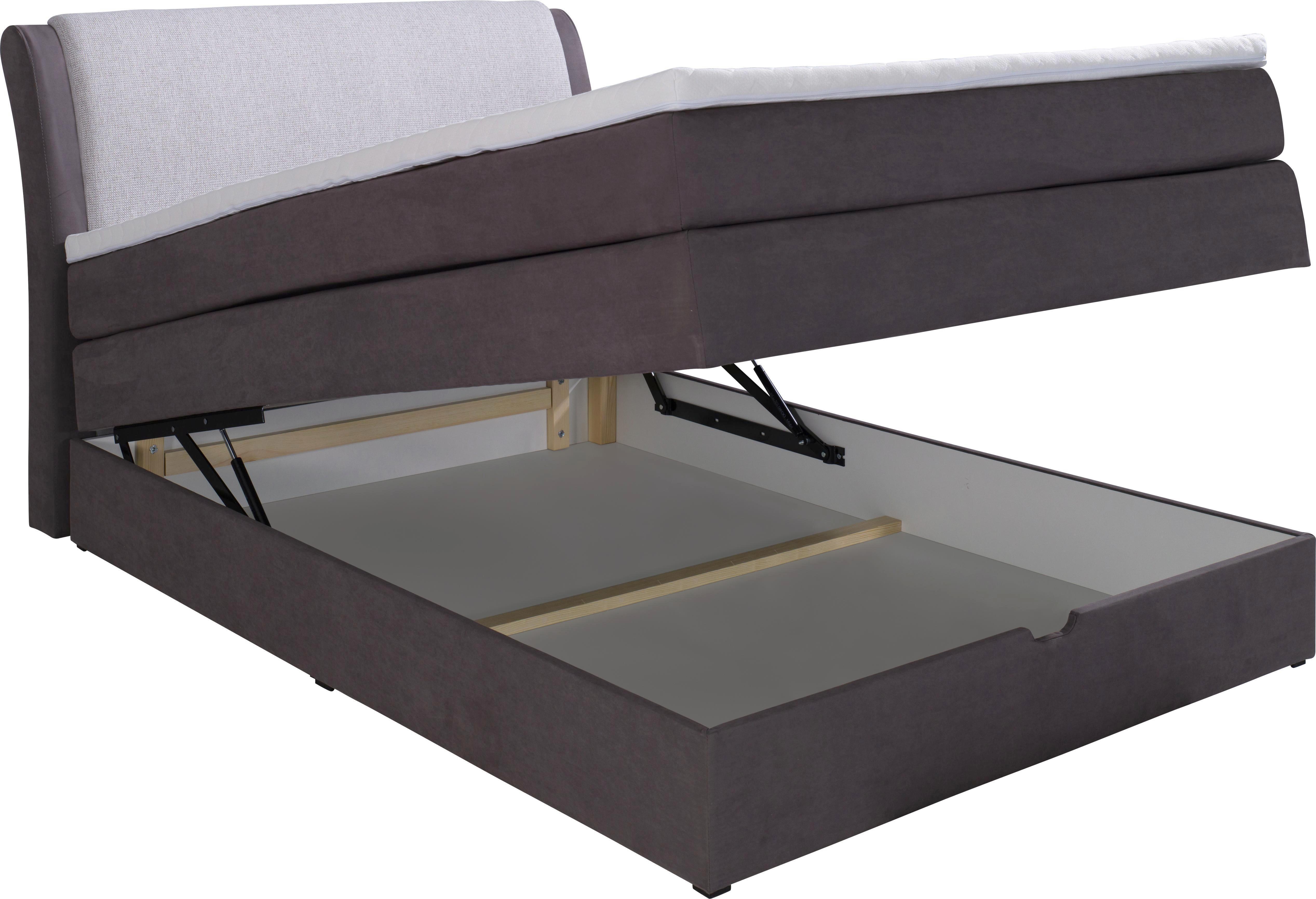 Boxspringbett in Grau, ca. 140x200cm - Hellgrau/Grau, KONVENTIONELL, Textil (227/146/109cm) - PREMIUM LIVING
