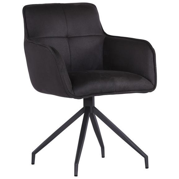 Stuhl Dunkelgrau - Dunkelgrau/Anthrazit, MODERN, Textil/Metall (61,5/88/59cm) - Premium Living