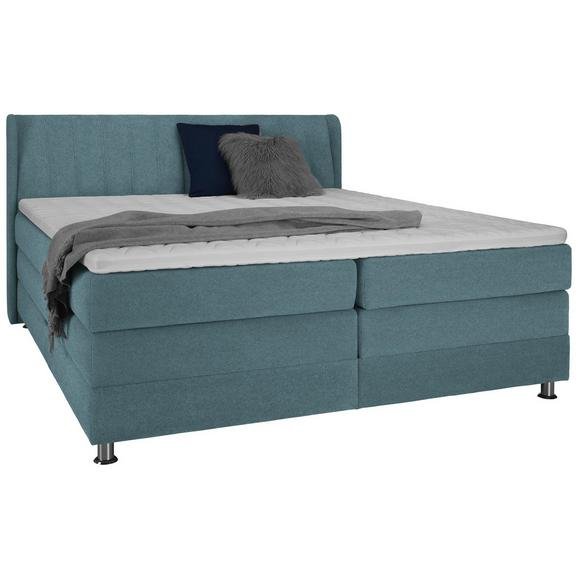 Boxspringbett in Blau/Grün ca. 180x200cm - Blau/Chromfarben, KONVENTIONELL, Kunststoff/Textil (180/200cm) - Premium Living