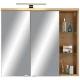 Spiegelschrank Eichefarben - Chromfarben/Eichefarben, MODERN, Glas/Holzwerkstoff (80/70/23cm) - Premium Living