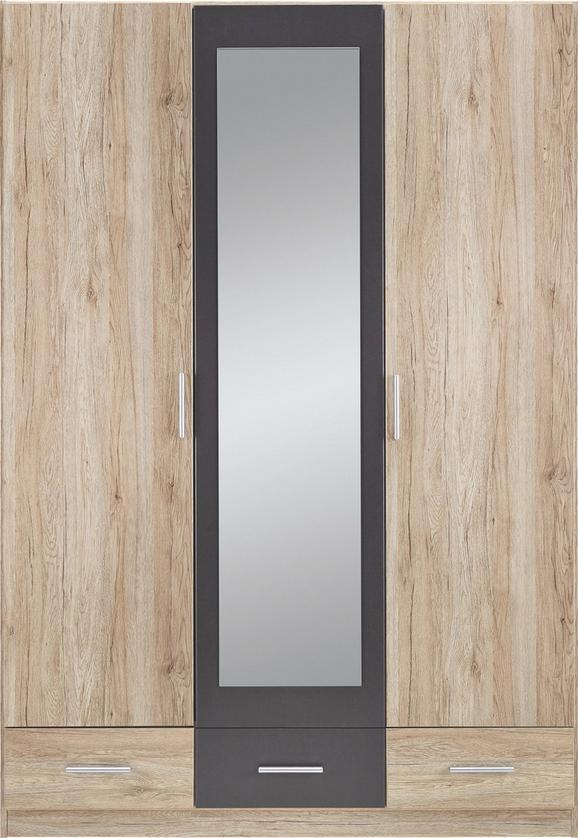 Drehtürenschrank Eiche/Grau - Eichefarben/Grau, MODERN, Holz/Holzwerkstoff (136/197/54cm) - Modern Living