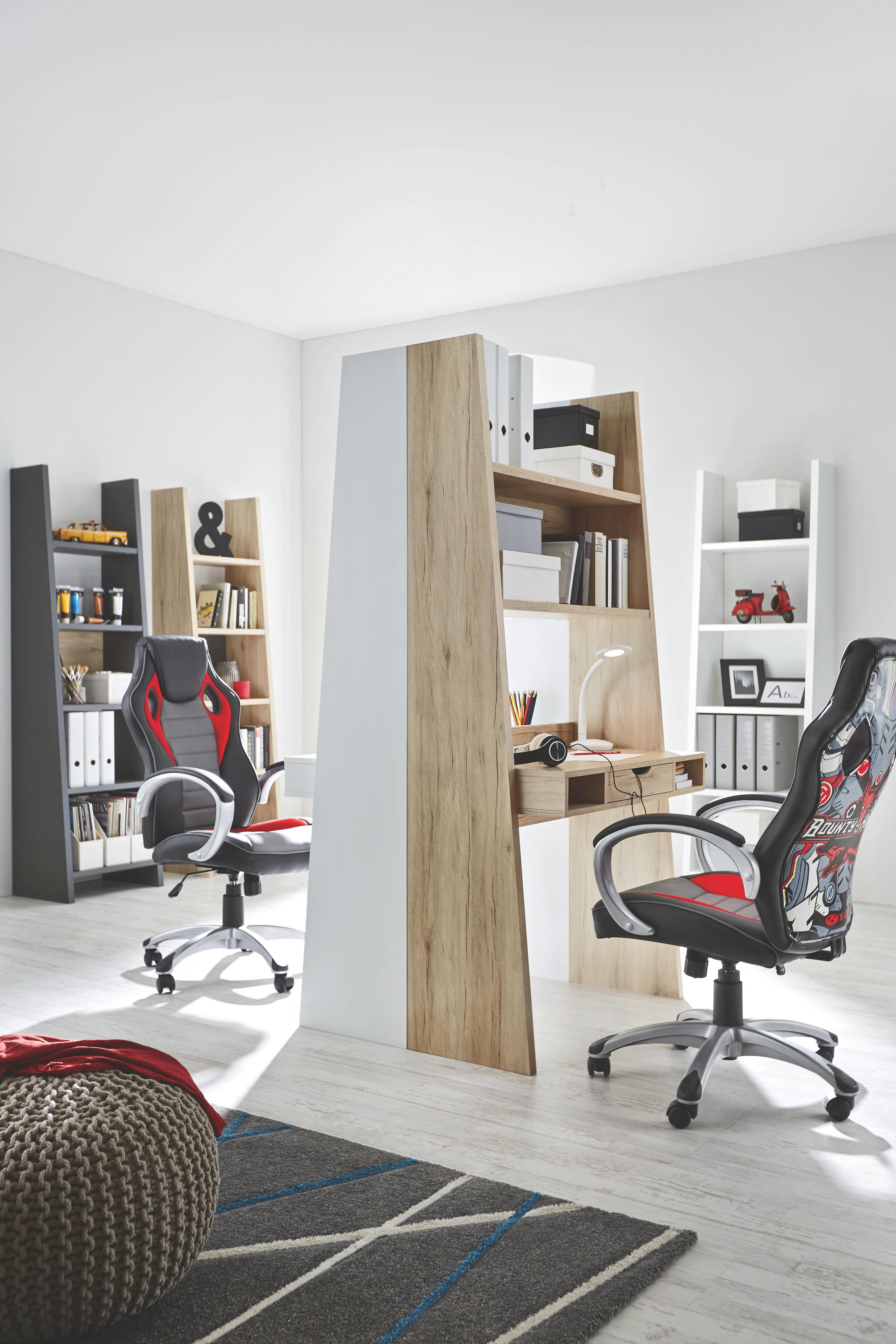 Schreibtisch in Eiche - Eichefarben/Graphitfarben, MODERN, Holzwerkstoff (90/186/46cm)