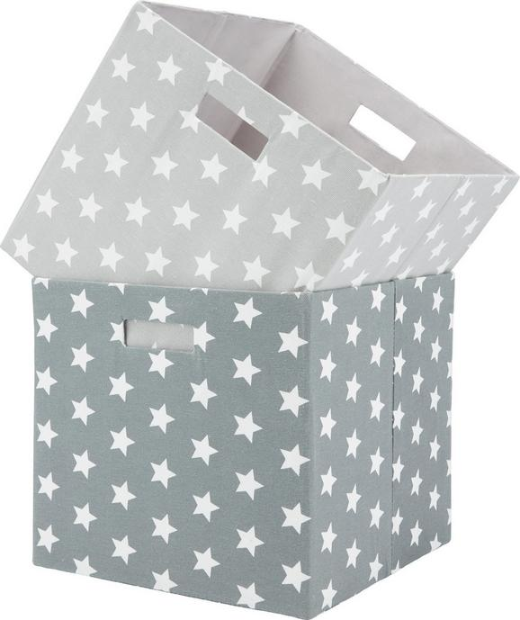 Aufbewahrungsbox Star in Weiß/Hellgrau - Hellgrau/Weiß, Textil (33/33/32cm) - Mömax modern living
