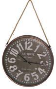 Uhr Yoko in Braun, ca. 62x7cm - Silberfarben/Braun, Glas/Textil (61,5/7cm) - Mömax modern living