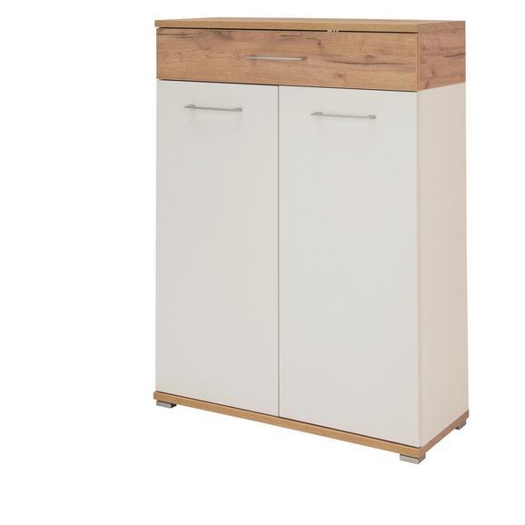 Schuhschrank in Weiß/Eichefarben - Eichefarben/Weiß, MODERN, Holzwerkstoff (89/118/37cm) - Mömax modern living