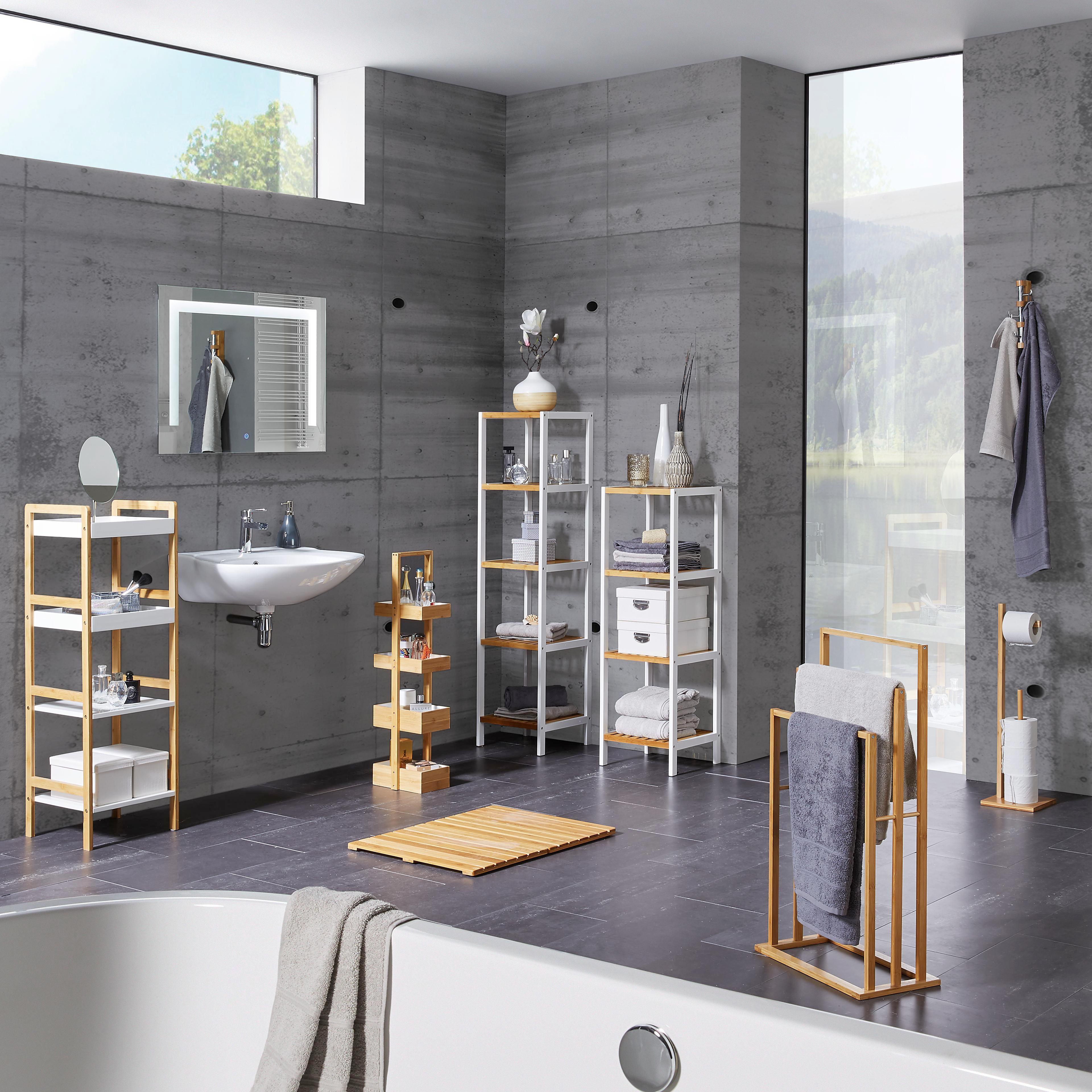 WC-Bürstenkombination aus Bambus in Braun - Edelstahlfarben/Naturfarben, MODERN, Holz/Kunststoff (19/70,5/19cm) - MÖMAX modern living