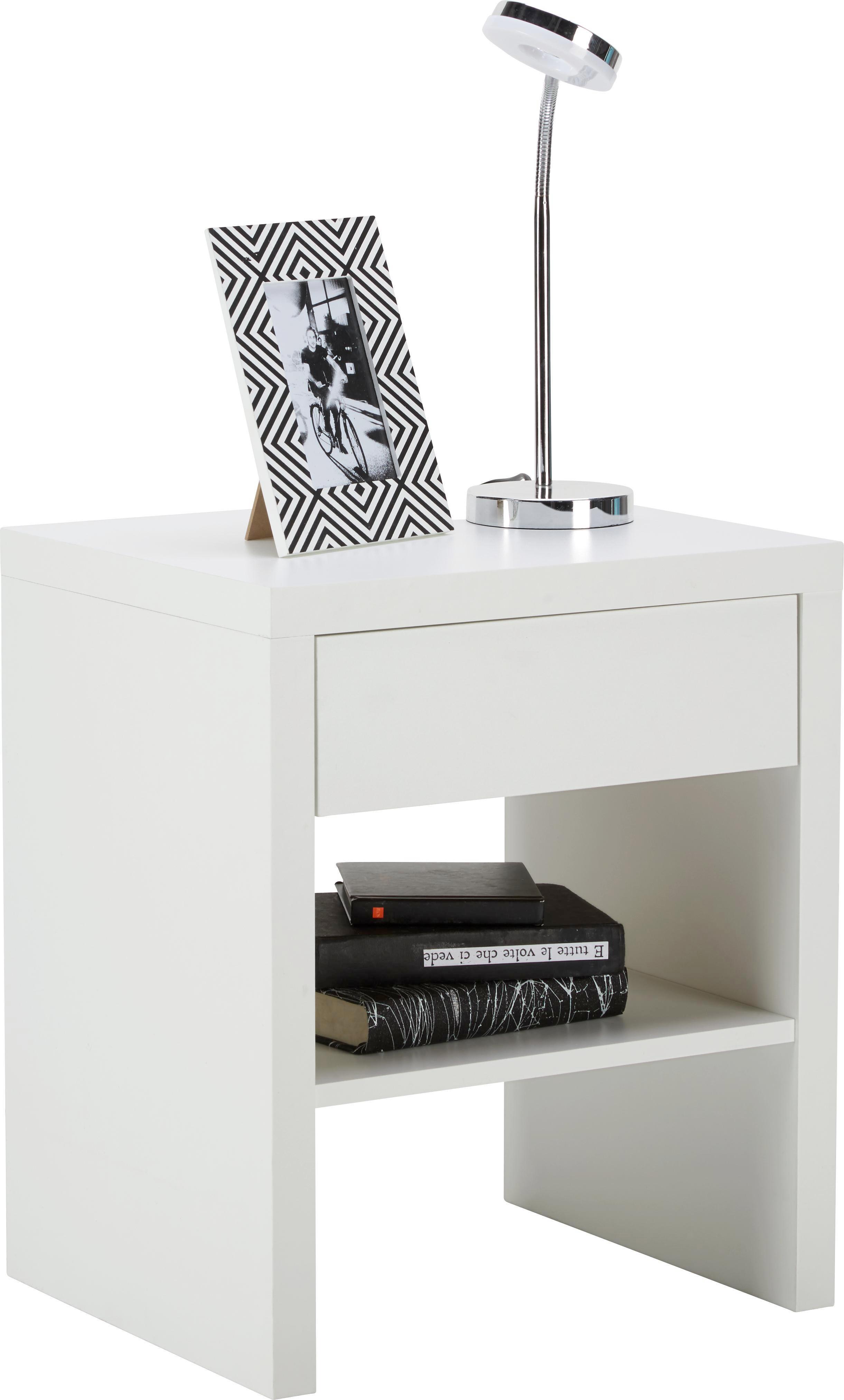 Nachtkästchen in Weiß - Weiß, KONVENTIONELL, Holzwerkstoff (44/52/36cm) - MODERN LIVING