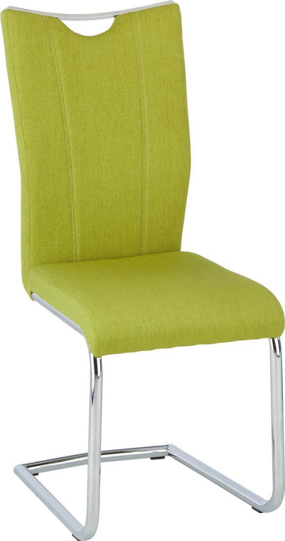 Szánkótalpas Szék Flo - Zöld, modern, Fém/Textil (44/100/58cm)