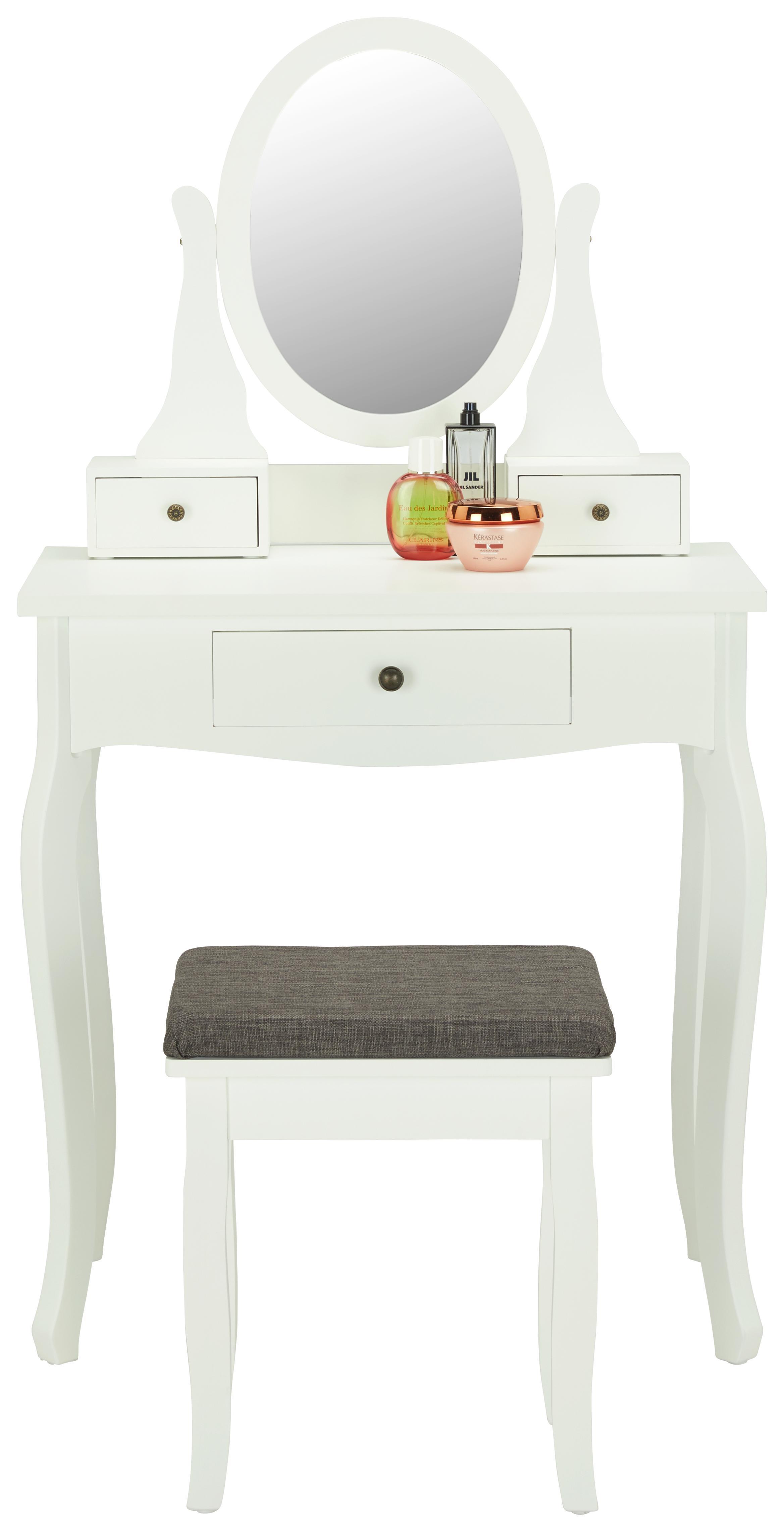 Schminktisch In Weiß Mit Hocker   Bronzefarben/Weiß, MODERN, Glas/Holz (