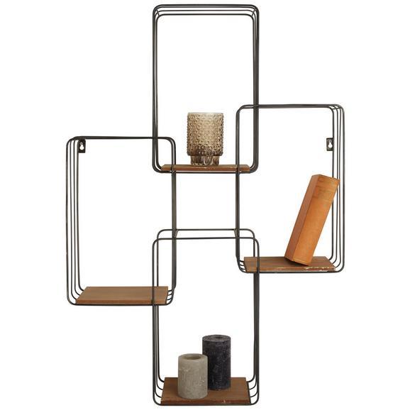 Wandregal Natur/Schwarz - Schwarz/Naturfarben, LIFESTYLE, Holz/Metall (64/94/18cm) - Modern Living