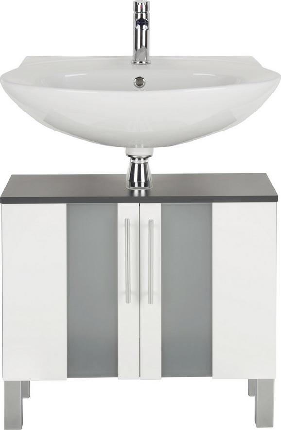 Waschbeckenunterschrank Weiß/Anthrazit - Chromfarben/Anthrazit, MODERN, Glas/Holzwerkstoff (65,0/65,5/31,3cm) - Mömax modern living