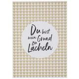 Postkarte Du bist mein Grund zu lächeln - Goldfarben/Schwarz, MODERN, Papier (10,5/14,8cm)