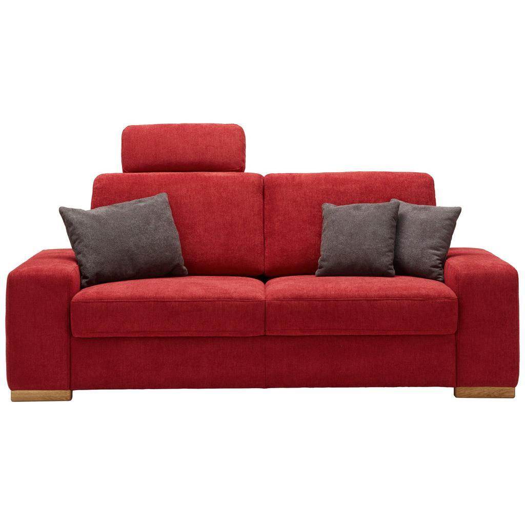 Dreisitzer-Sofa in Rot mit Rückenkissen