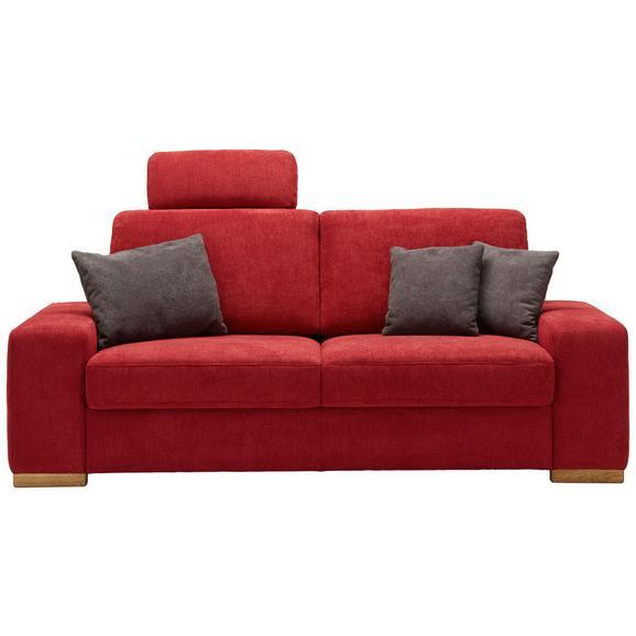 Dreisitzer-Sofa in Rot mit Rückenkissen - Eichefarben/Rot, KONVENTIONELL, Holzwerkstoff (208/88/95cm) - Premium Living