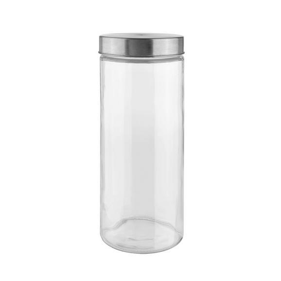 Vorratsdose Magnus Glas - Klar/Edelstahlfarben, MODERN, Glas/Metall (11,5/27,5cm) - Mömax modern living