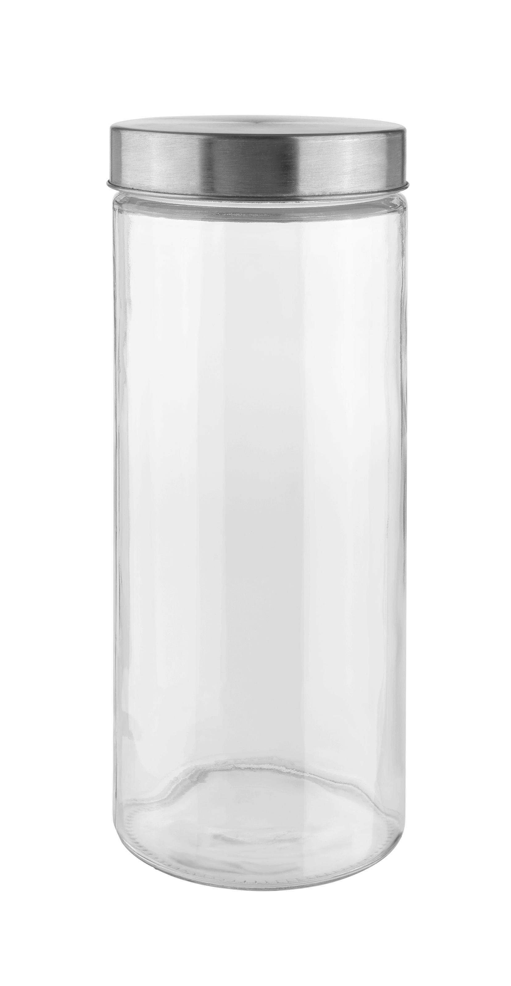 Vorratsdose Magnus in Klar aus Glas - Klar/Edelstahlfarben, MODERN, Glas/Metall (11/27,5cm) - MÖMAX modern living
