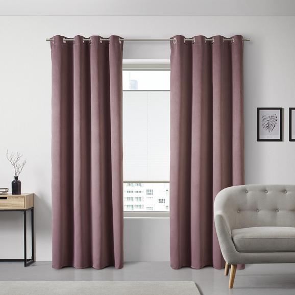 Vorhang Memphis aus Samt ca. 140x250 cm - Rosa, MODERN, Textil (140/245cm) - Bessagi Home