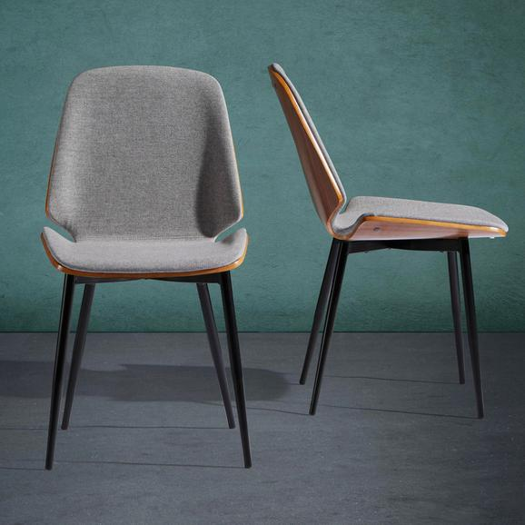 Stuhl Anja - Walnussfarben/Schwarz, MODERN, Holz/Textil (47/84/57cm) - Modern Living