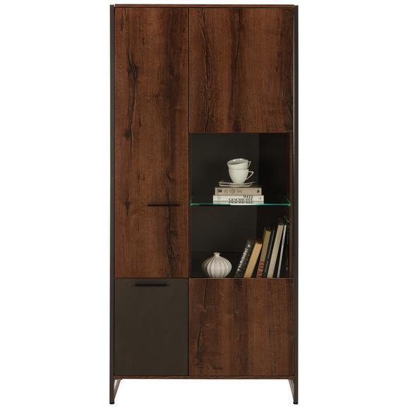 Vitrina Steel - boje hrasta/smeđa, Lifestyle, staklo/drvni materijal (88/189/40cm) - Modern Living