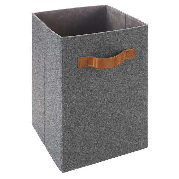 Box Tahu in Grau ca. 31x31x51 cm - Braun/Grau, MODERN, Kunststoff/Textil (31/31/51cm) - Bessagi Home