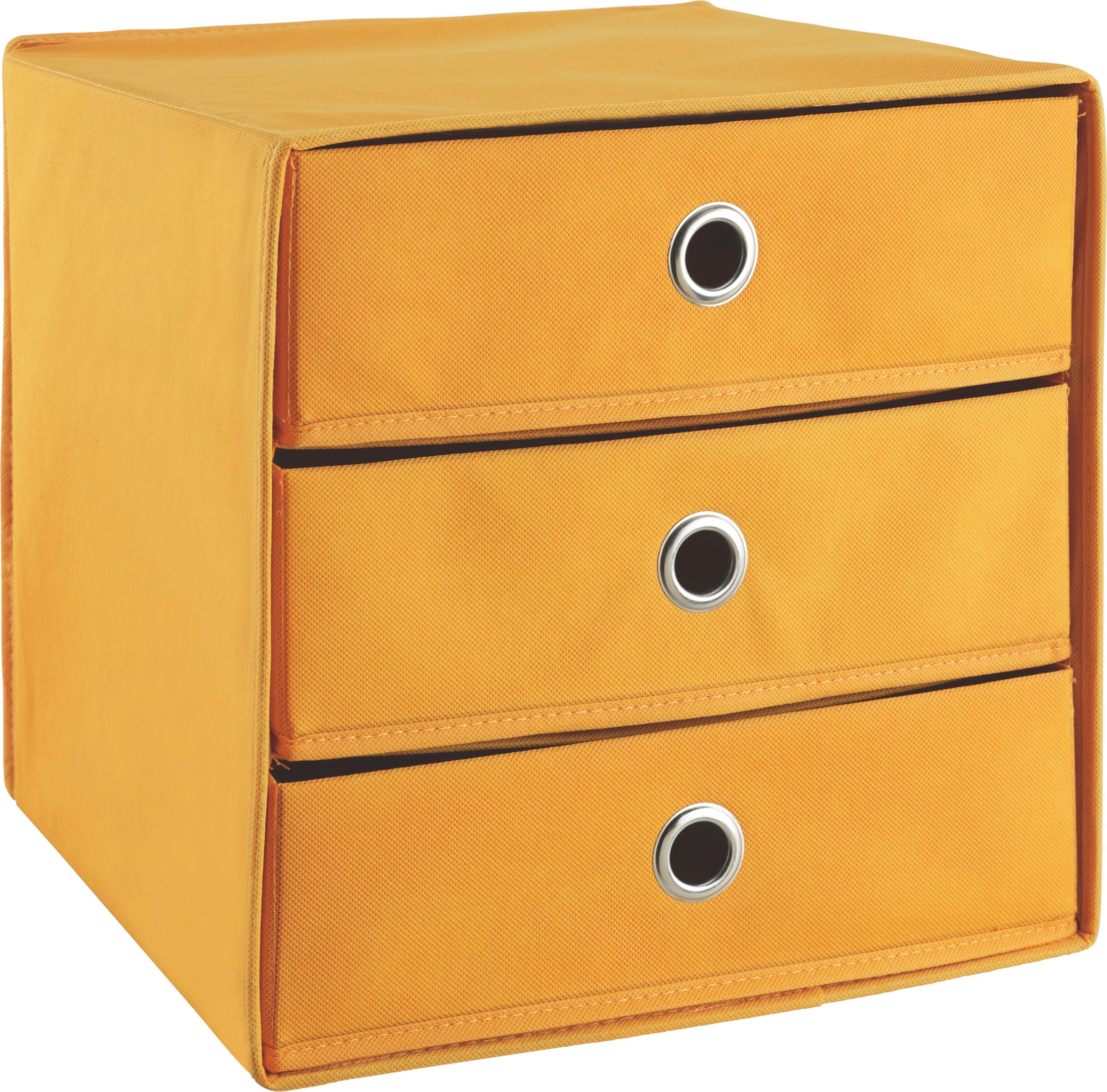 Container in Orange - Orange, Karton/Textil (31,5/32,0/31,5cm) - CARRYHOME