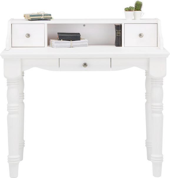 Sekretär in Weiß aus Kiefer - Weiß, ROMANTIK / LANDHAUS, Holz (100/92/52cm) - ZANDIARA