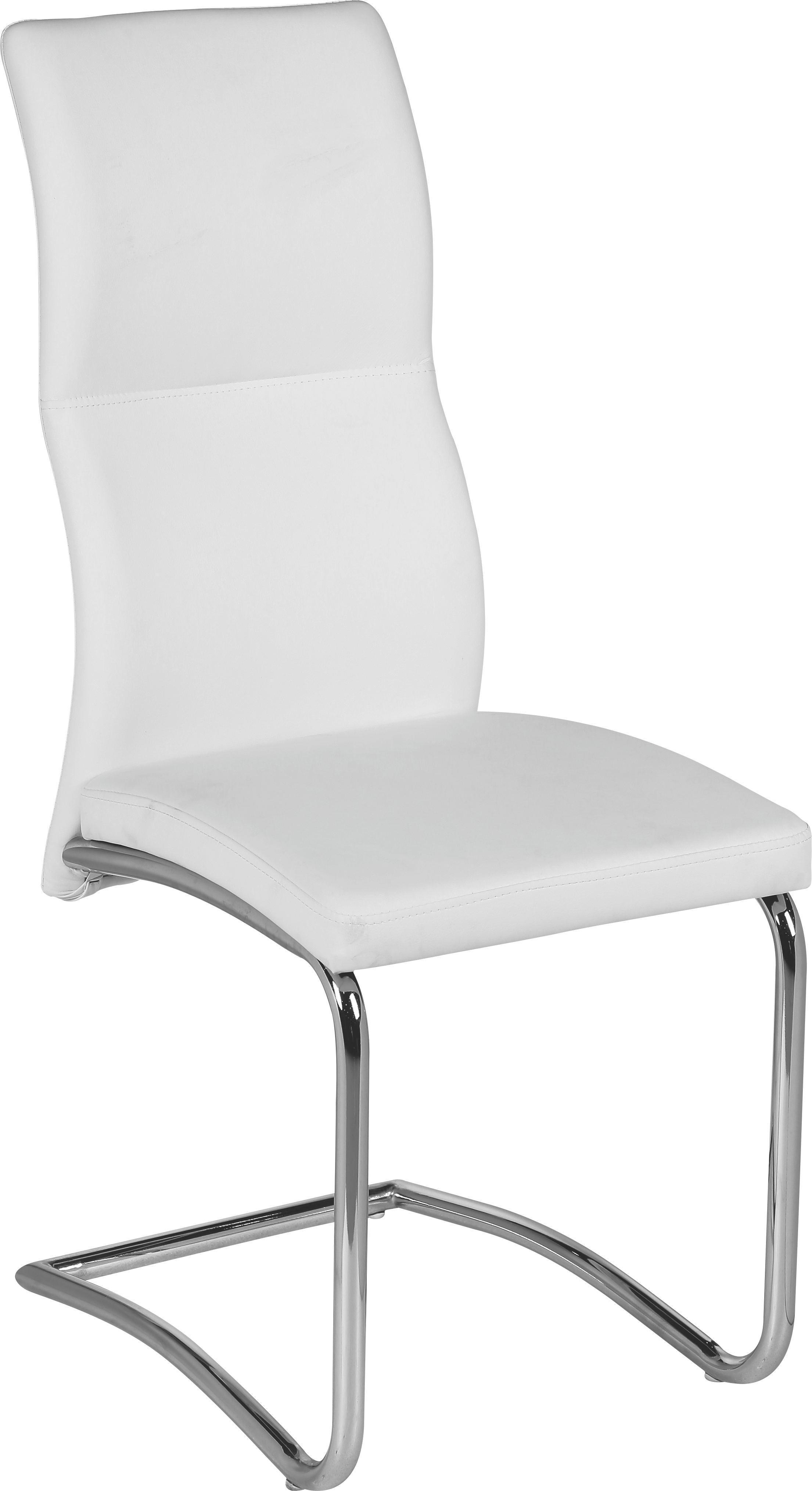 Szánkótalpas Szék Wendy - fehér, modern, textil/fém (43,5/102/62cm)