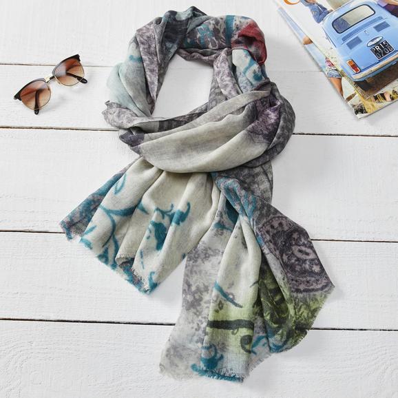 Wollpashmina Schal Multicolor 'Shalimar' ca. 70X180 CM - Blau, MODERN, Textil (70/180cm) - Bessagi Home