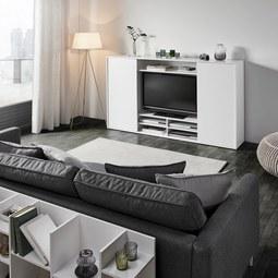 Wohnwand in Weiß 'Basic' - Weiß, MODERN, Holz (187/111,5/36cm) - Bessagi Home