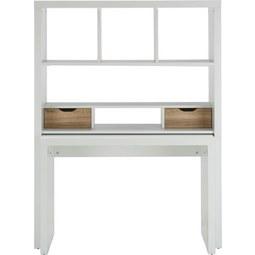 Schreibtisch in Weiß/Eiche - Eichefarben/Weiß, MODERN, Holzwerkstoff (117,2/156,6/45cm)