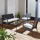 Loungegarnitur Kara inkl. Auflagen - Weiß/Grau, MODERN, Glas/Kunststoff - MODERN LIVING