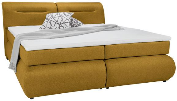 Boxspringbett Currygelb 180x200cm - Currygelb/Schwarz, Kunststoff/Textil (240/190/100cm) - PREMIUM LIVING