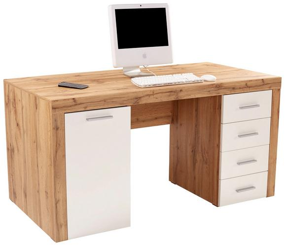 Pisalna Miza Cubus - bela/hrast, Moderno, umetna masa/leseni material (160/75/70cm) - Mömax modern living
