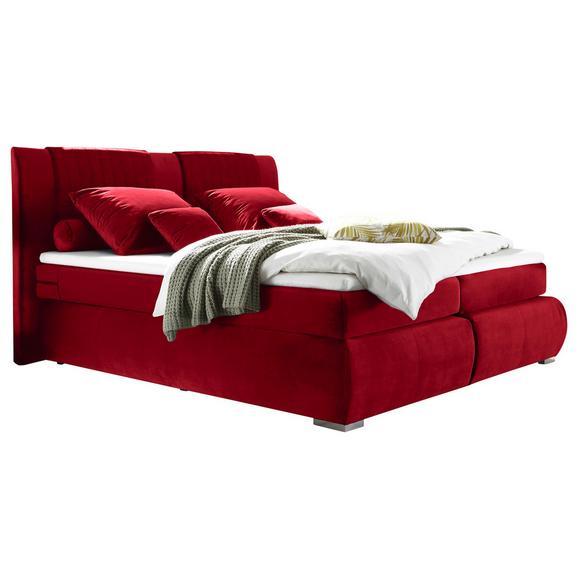 Boxspringbett in Rot ca. 180x200 cm inkl. Topper - Rot/Silberfarben, KONVENTIONELL, Holzwerkstoff/Kunststoff (180/200cm) - Livetastic