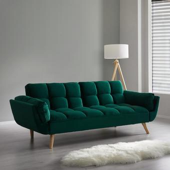 Sofa Clara mit Schlaffunktion - Grün, MODERN, Holz/Textil (214/82/81cm) - Mömax modern living